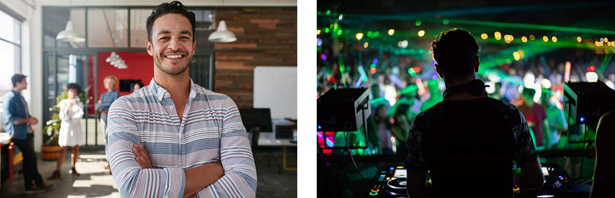 Left Image: The owner of a company happy with his MeMail accounts. Right Image: A DJ working