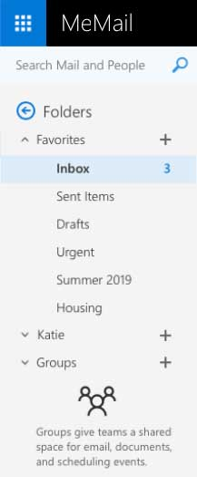 A snapshot of the how folders are used and displayed on MeMail's Webmail.