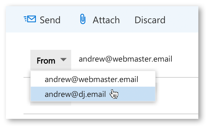 Selecting which email account to use to send an email.