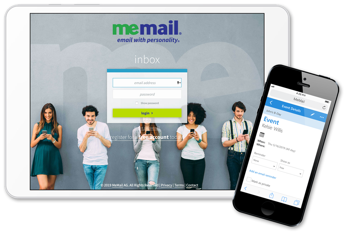 The MeMail website displayed on a table and phone.